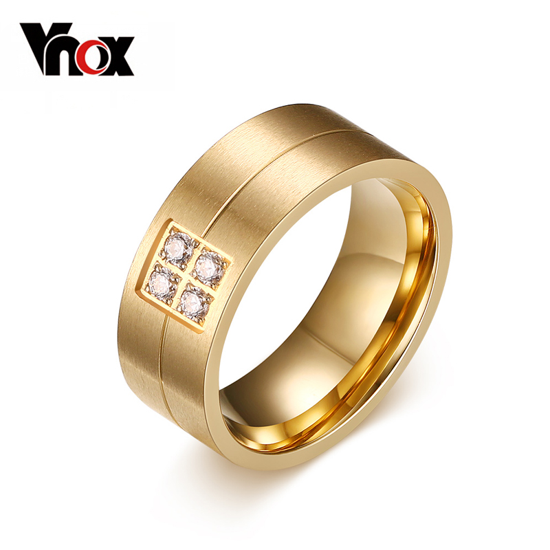 Rings For Women Real 18K Yellow Gold Plated 316L Stainless Steel Jewelry Wedding Engagement Ring(China (Mainland))