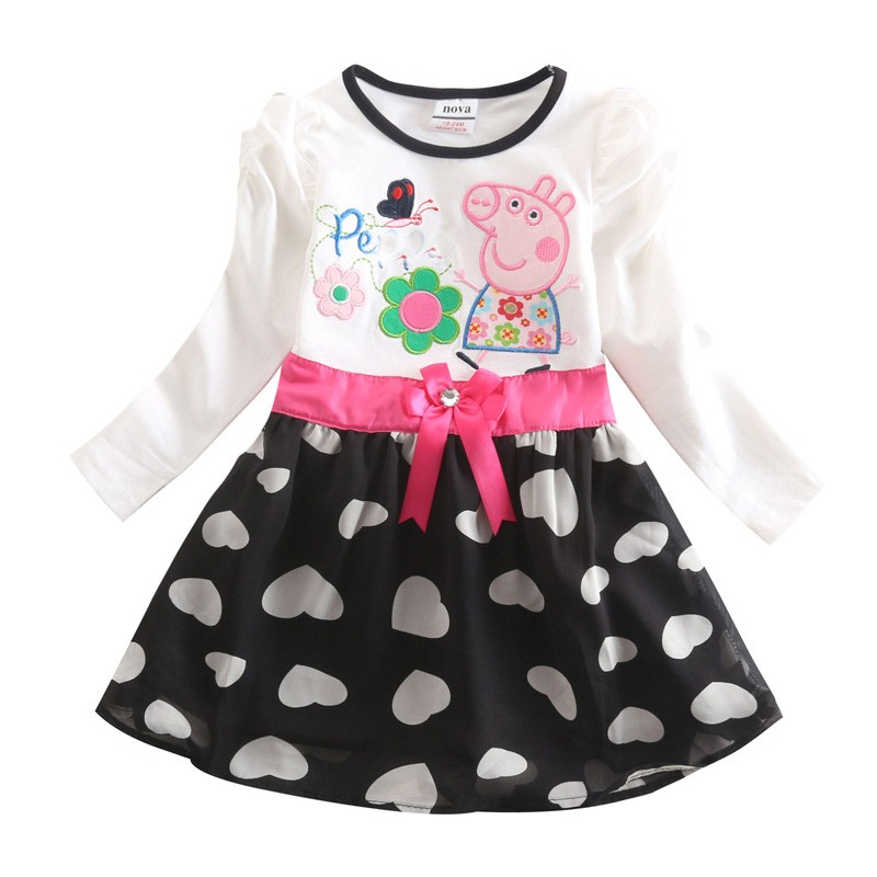 Girl pig lace dress children 100% cotton clothing lace ball gown party evening dresses kids pig long sleeve dress(China (Mainland))