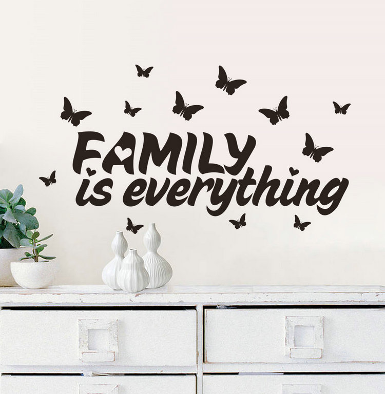 family is everything quote wall stickers home decor adhesive home decoration vinyl wall sticker. Black Bedroom Furniture Sets. Home Design Ideas