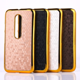 Chrome Plastic Hard Case for Motorola Moto G3 Football Grain Back Cover for Moto G 3rdGen XT1552 Luxury Gold Electroplating Case(China (Mainland))