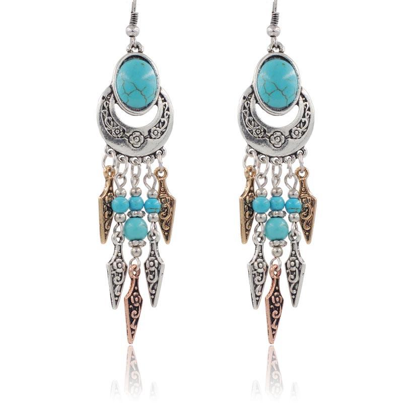 New Fashion Vintage Tassle Women Bohemia Stud Earrings Fashion Jewelry Statement Earrings In
