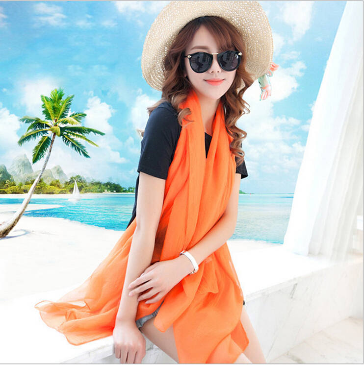 Nice Chiffon Scarf Women fashion Lengthen High Quality Gradual scarves Solid Color scarf beach towel free shipping(China (Mainland))