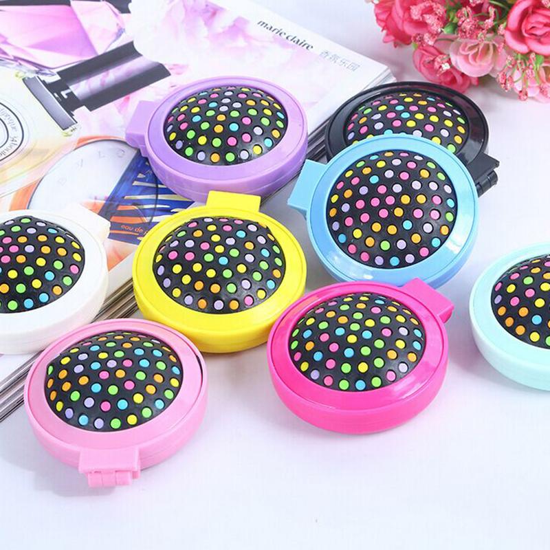 1 Pcs New Girls Portable Mini Folding Comb Airbag Massage Round Travel Hair brush With Mirror Cute(China (Mainland))