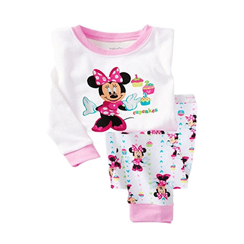 Retail free shipping 2014 new 100% cotton Minnie Mouse baby girl pajamas children clothing set long sleeve Mickey baby pyjama<br><br>Aliexpress
