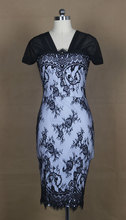 free shipping summer women  vestido cap sleeve midi length lady  sexy black lace dress for parry,cocktail,dinner
