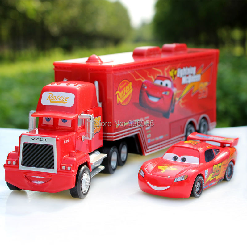 Free Shipping Pixar cars 2 # 95 Diecast Metal Mack truck Hauler +small cars toys Holday gift(China (Mainland))
