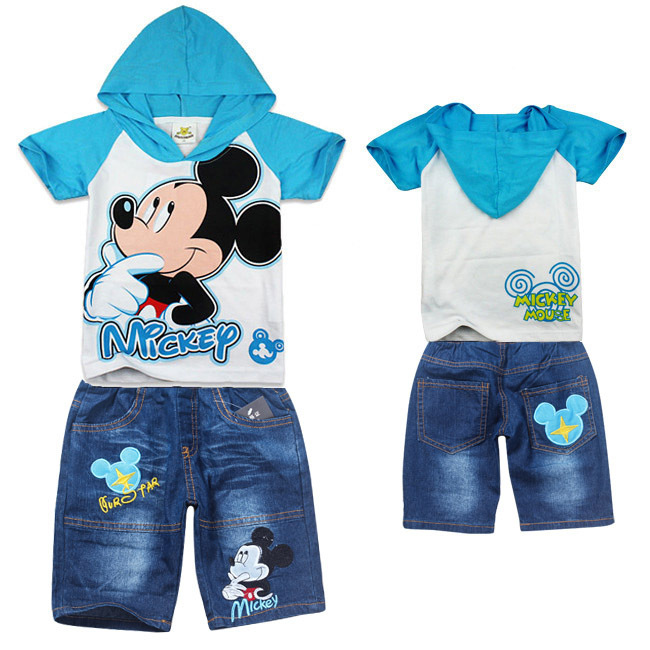 2013 New Arrival Popilar Children Cartoon Sets Boys Short-sleeve Hooded T-shirt + Jeans Half-pants Set 6sets/lot Free Shipping