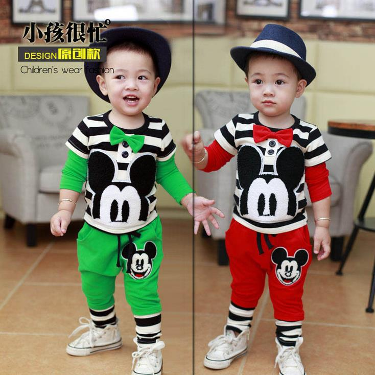 2014 baby girls boy clothing set casual clothes for boys striped t shirt + pants kids clothes suit.Toddler boys Outfit(China (Mainland))