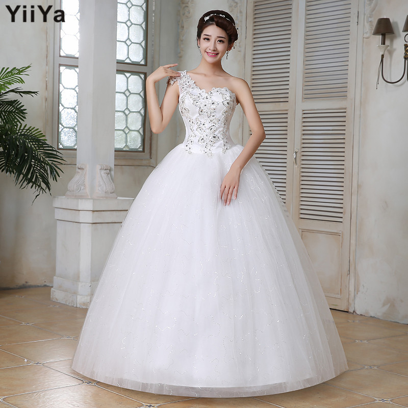 Free shipping wedding dresses 2015 one sholder white plus for Cheap plus size lace wedding dresses
