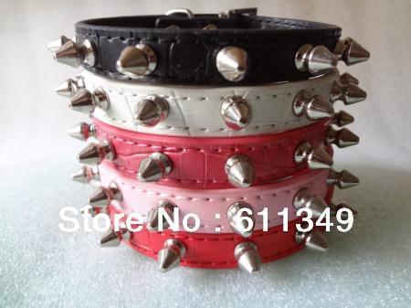Free Shipping Pet Products Puppy Dog Spiked Collars PU Leather White Pink Rose-pink Blue Red Black Small