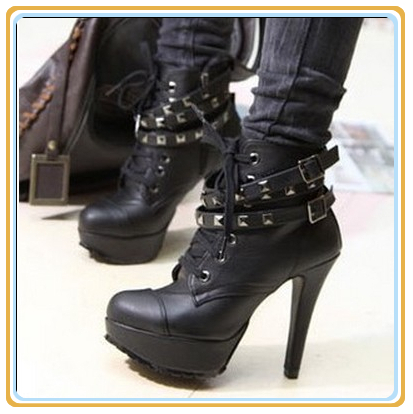 Motorcycle Lace Up Ankle Leather Boots High Heels Black Punk Rivets Women Platform Shoes for New 2015 Autumn Vintage brand new(China (Mainland))