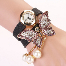 Charming New Designer Women's Faux Pearls Rhinestone Butterfly Wrap Bracelet Quartz Analog Wrist Watch(China (Mainland))
