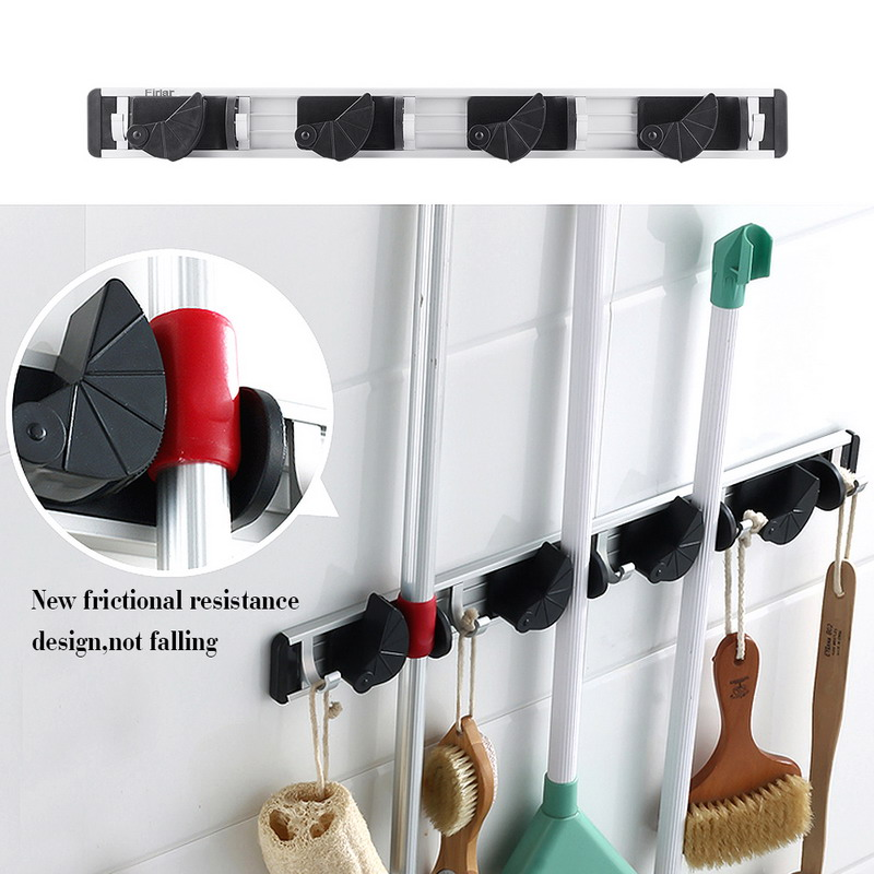 1 PC Wall Mount Mop Broom Holder Organizer Garage Storage Solutions Mounted 4 Position 5 Hooks For Shelving VG089 T50(China (Mainland))