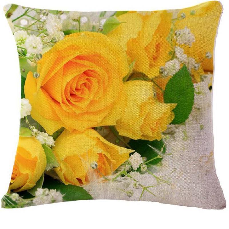 Hot Sale Cushion Modern Minimalist Cotton Linen Yellow Rose Warm Hand Pillow Cushion Free Shipping