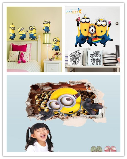 minions movie wall stickers for kids room home decor diy pvc cartoon decals children gift 3d mural arts posters home decor *?(China (Mainland))