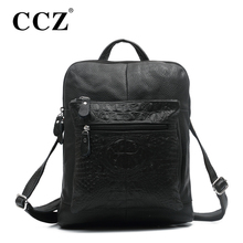 CCZ Women Backpacks Cowhide Genuine Leather Bag Fashion Alligator High Quality Soft School bag Backpack Shoulder Bag SL145F(China (Mainland))