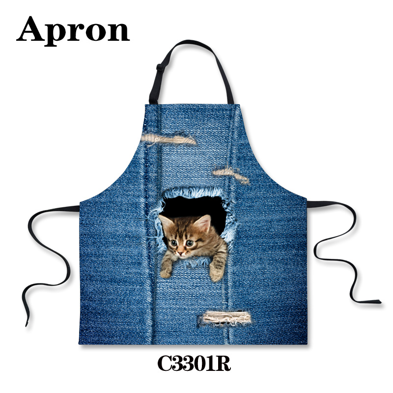 Korean Style Animals Cute Cat Dog Blue Kitchen Aprons Personalized Chef Aprons Kawaii Cafe Cooking Cleaning Aprons for Women(China (Mainland))