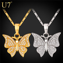 Buy U7 Brand Luxury Butterfly Charm Necklace & Pendant Cubic Zirconia Silver/Gold Color Chain Women Jewelry Gift P1004 for $5.90 in AliExpress store