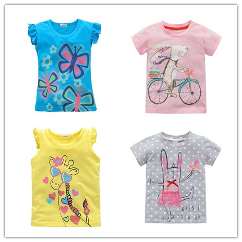 2 -10 years brand Children T-shirt Girls t shirt tees baby Girl Short Sleeve T shirts clothes 100% Cotton Kids Summer 8 9 10(China (Mainland))