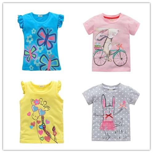 2 -10 years brand Children T-shirt Girls t shirt tees baby Girl Short Sleeve T shirts clothes 100% Cotton Kids Summer 8 9 10(China (Mainland))