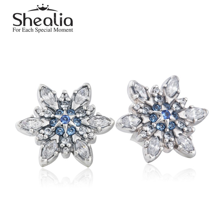 Clear CZ &amp; Blue Crystal Christmas Snowflake Stud Earrings For Women 2015 Winter 100% 925 Sterling Silver Brincos Christmas Gift<br><br>Aliexpress