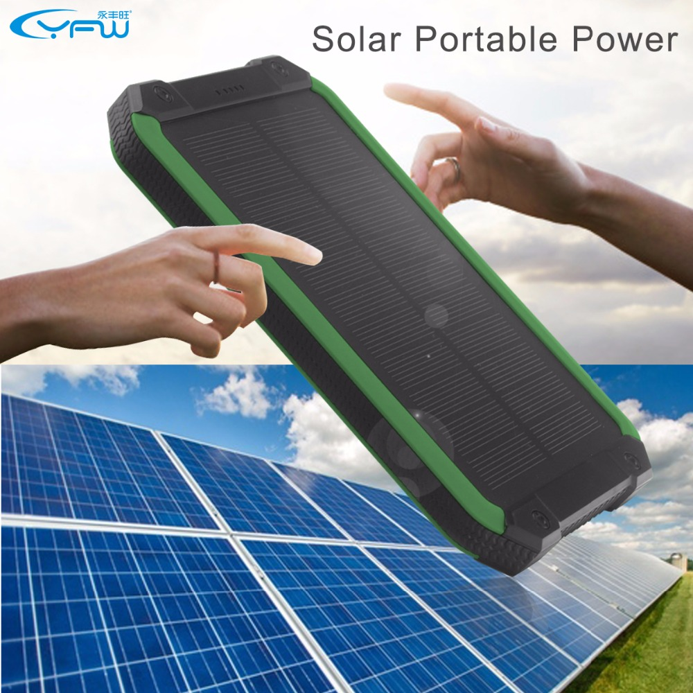 YFW Solar Charger Power Bank Portable External Sun Charger Mobile Phone Backup Charger Camping Hiking Flashlight LED SOS(China (Mainland))