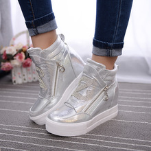 Women Boots Wedge Concealed Heel High Top Platform Ankle Boots Lace-Up Rhinestone Boots Zipper Shoes Size 35-39 Free Ship S49(China (Mainland))
