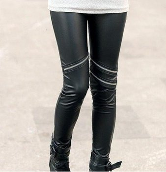 East Knitting FREE SHIPPING+Wholesale C8 2012 Fashions Hot  Style Neon Metallic Electric Zippers Leather Leggings