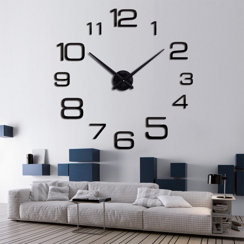 2017 new arrival real brand home decor Living Room quartz watch big digital wall clock modern design large clocks free shipping(China (Mainland))