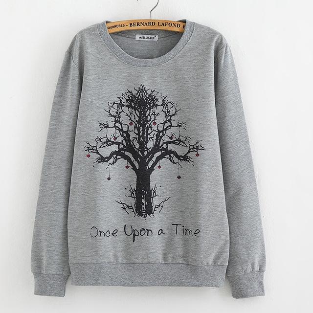 2016 Autumn Женщины Tees Модный tree print pullover Plus-Размер Свободный Вязанный ...