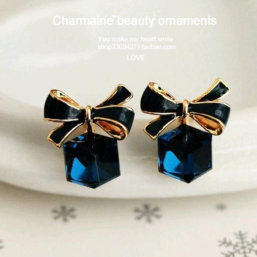 Гаджет  2014 Cute Sweet Women Austrian Crystal Zircon Bow Dangle Earrings Cheap Shinny Star Temperament Earring Jewelry For Women PT31 None Ювелирные изделия и часы