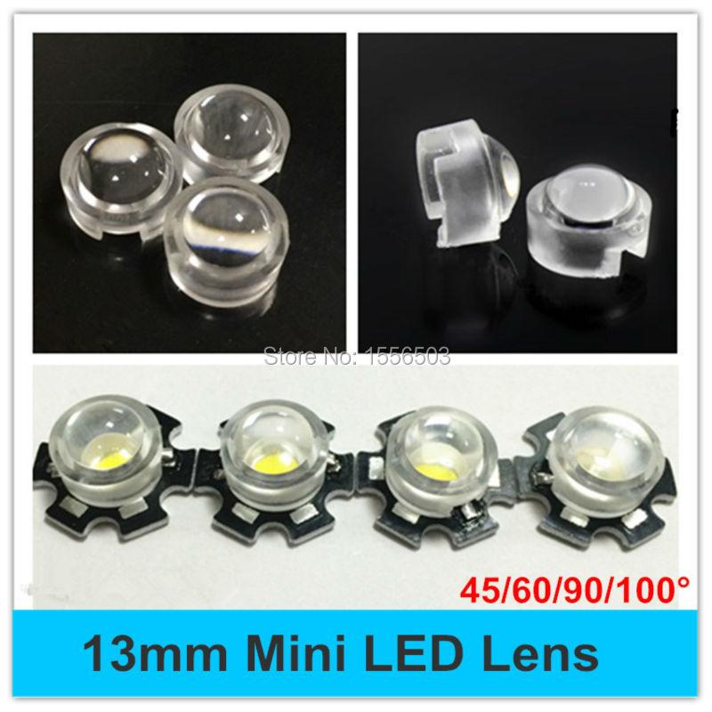 Гаджет  10 pcs/lot 45 60 90 100 Degree 13mm Mini LED PCB Angle Lens for IR CCTV LED PCB Convex Lenses With Holder 1W 3W High Power Lens None Свет и освещение
