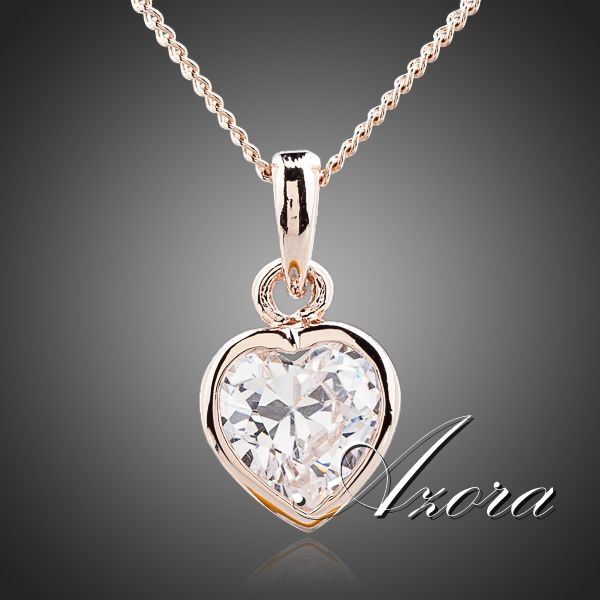 AZORA Heart Crystal 18K Rose Gold Plated Stellux Austrian Crystal Jewelry Pendant Necklace TN0091