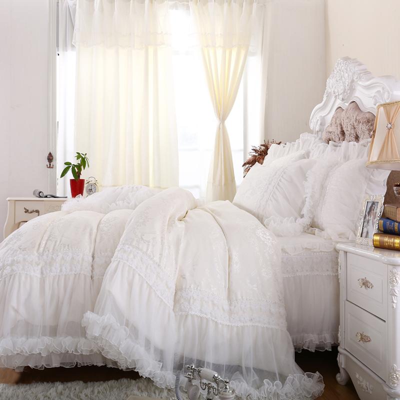 White Luxury Bedroom: Luxury Princess White Bedding Set,full Queen Cotton