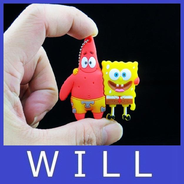 pendrive 2GB 4GB 8GB 16GB 32GB 64GB Cute Spongebob Patrick together U disk lovely creative usb flash drive pen drive(China (Mainland))