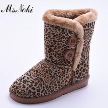 Zapatos de mujer 2016 nuevo invierno caliente de la felpa botas de nieve antideslizantes en leopardo ankel botas pisos botas de moda para mujer de algodón acolchado Femininas(China (Mainland))