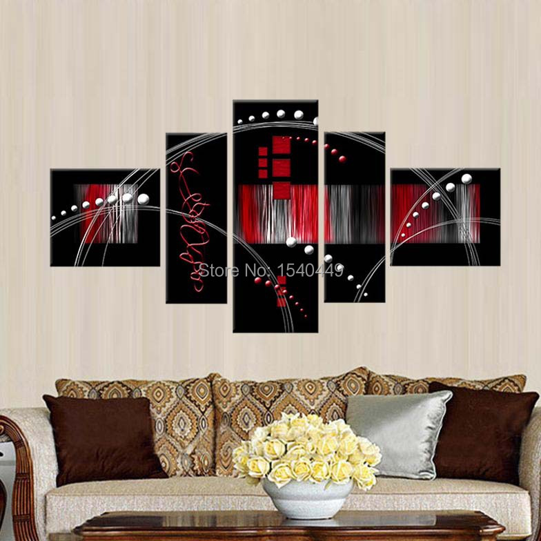Handpainted 5 Piece Modern Home Decoration Abstract Painting black white and red Paintings Canvas Pictures on wall Landscape 473