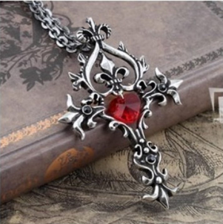 Collier Gothic Jewelry Necklace For Man The Vampire Diaries Bijouterie Cross Necklace Steampunk Collier Femme Necklaces