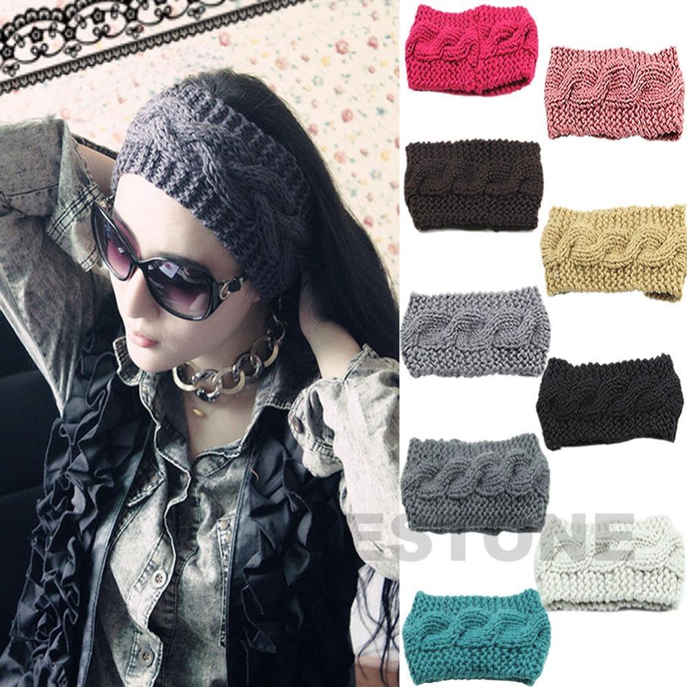 Free shipping 9 Colors Crochet Headband Knit Hairband Flower Winter Women Ear Warmer Headwrap(China (Mainland))