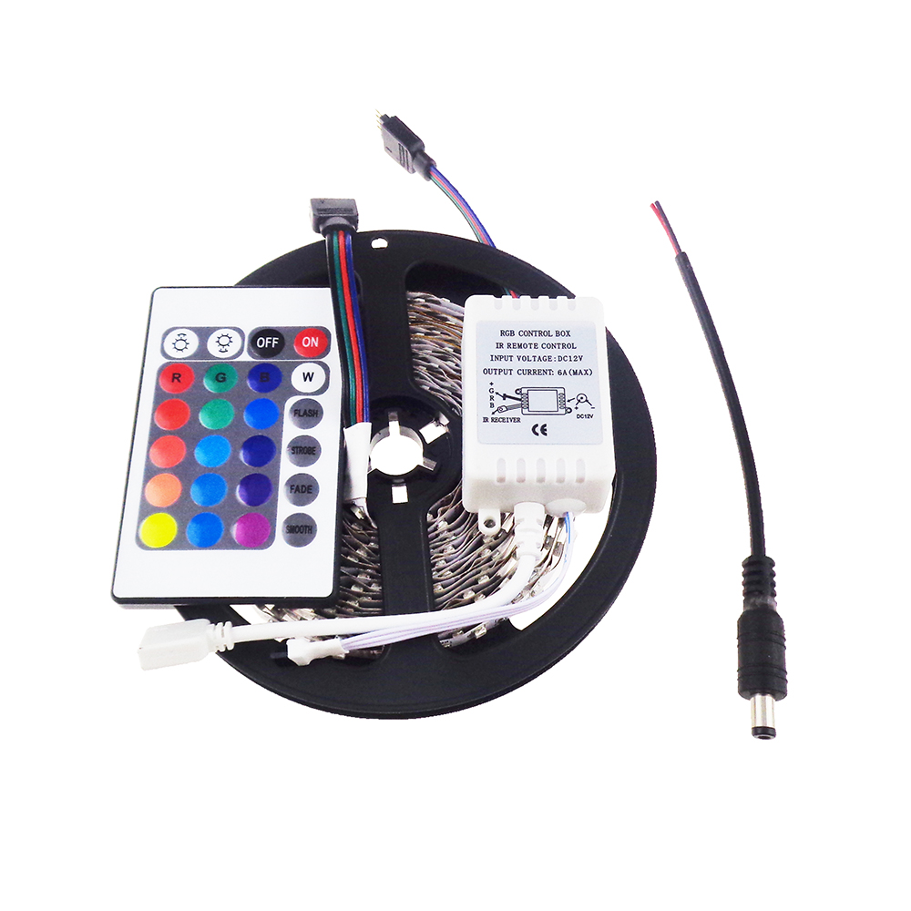 3528 led strips 300leds 5m/lot SMD chip DC12V bar light RGB color with 24Key IR remote controller DC cable non-waterproof KH(China (Mainland))