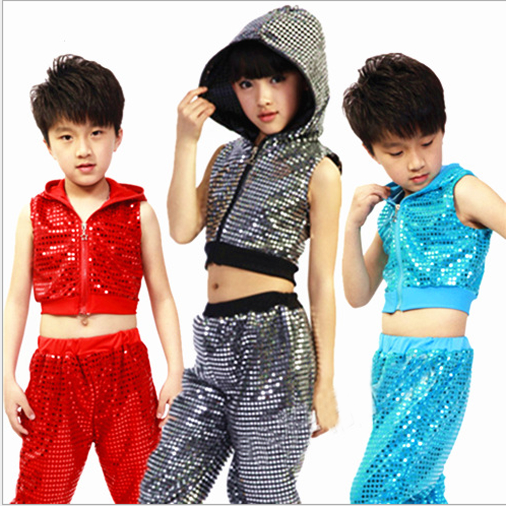 jazz dance costumes sequined hooded hip-hop stage clothing suit boys girls performing attire size 110-160cm - Children Performance Clothing store
