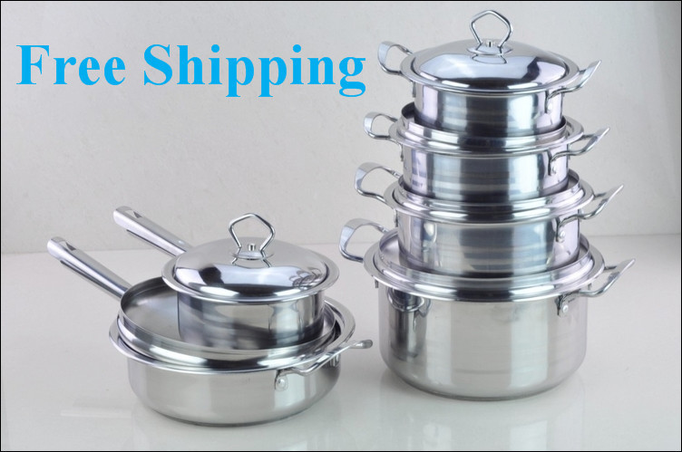 Cooking Tools 12PC Of 18/10 Stainless Steel Cookware Set Saupcepan Casserole Frypan s/s Cover Pots And Pans Cooking Pots Set(China (Mainland))