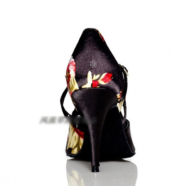 Vintage print women's professional  Women's Ankle Strap Satin Latin / Ballroom Dance Shoes sandals