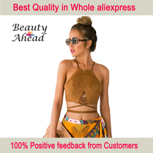 2015 New Summer style Women cropped top  White cute Vest Tanks sleeveless lace up suede Crop top Camisole(China (Mainland))
