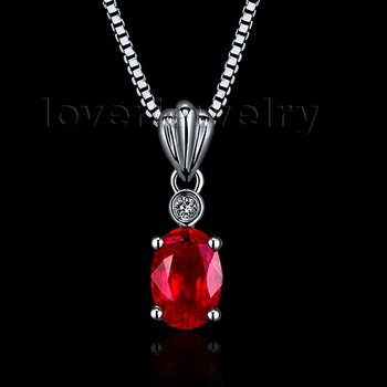 2015 New Design Oval Ruby Pendant In 18kt White Gold With Natural Diamond Pendant Ruby Engagement Pendant 5x7mm WP057