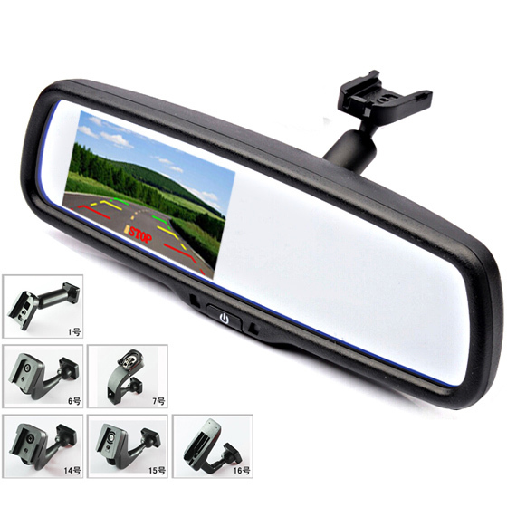 """4.3"""" TFT LCD Car Windscreen Rear View Mirror Car Bracket Monitor with 2CH Video Input For Parking Assistance System(China (Mainland))"""