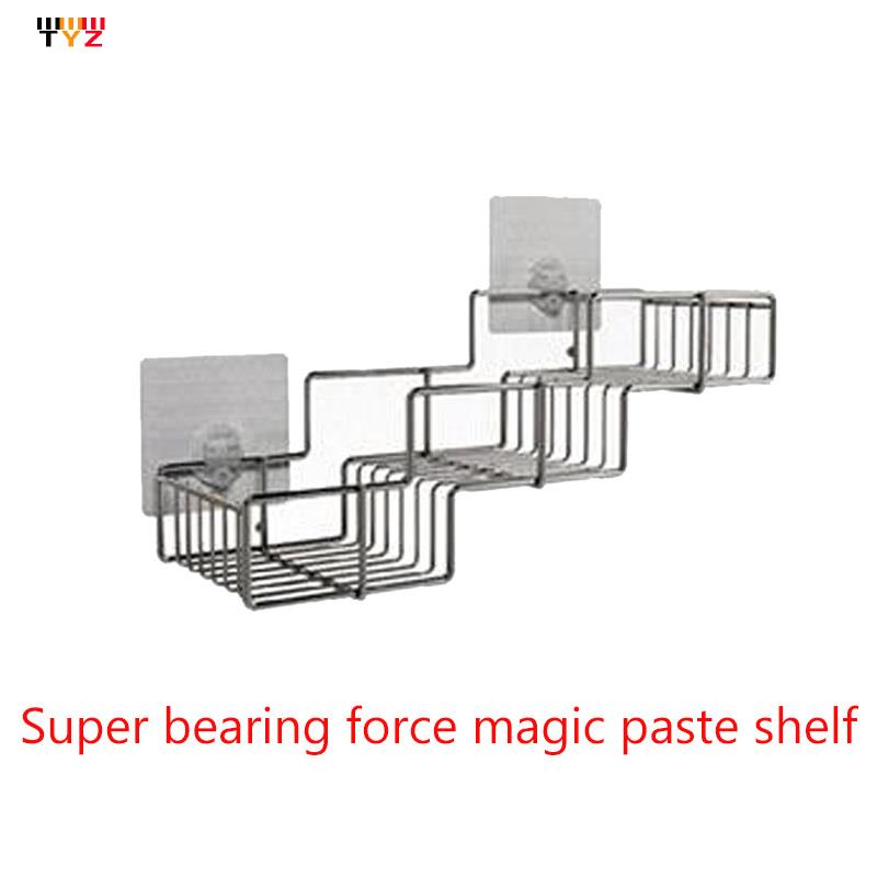 hroom Glass Shelf Bathroom Hardware Accessories Stainless Steel Basket Super Gravity-Free Paste The Wall(China (Mainland))