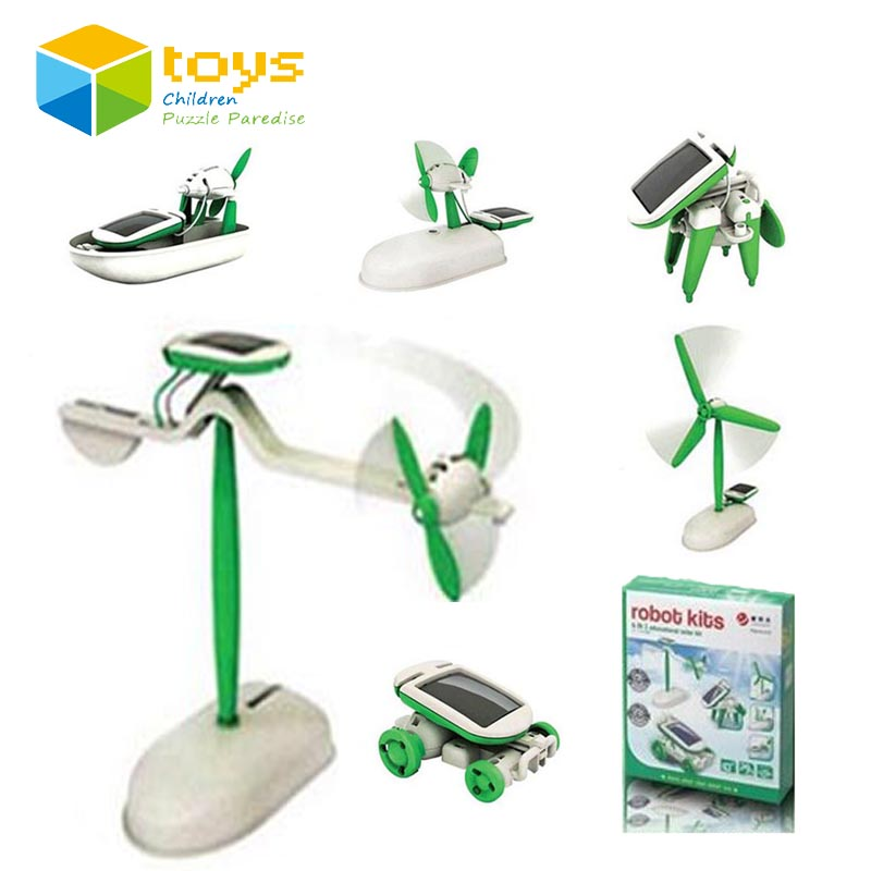 6 in 1 Educational Solar Kit DIY Changeable Building Science Robot Toy for Children Magic Plastic Green Energy Electric Toy Gift(China (Mainland))