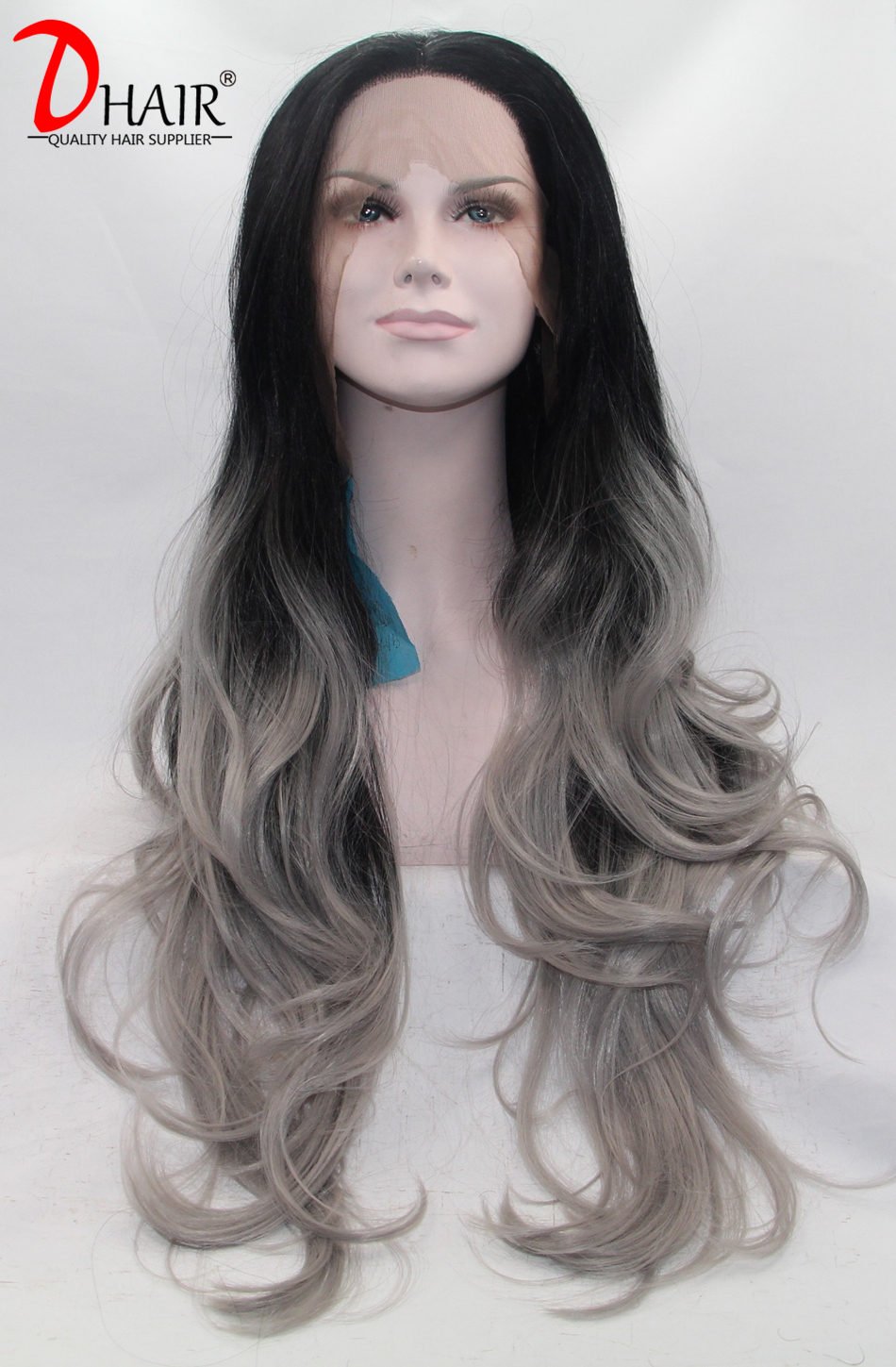 Ombre Silver Grey Synthetic Lace Front Wig Wavy Glueless Long Natural Black/Grey Heat Resistant Hair Lace Front Wigs For Women<br><br>Aliexpress