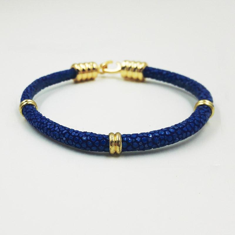Hot Sell Stingray Skin Bracelet ,Hand Made Gold Buckle color one roll Genuine Stingray Skin Leather Bracelets<br><br>Aliexpress